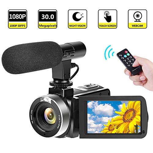 Camcorder Video Camera FHD 1080P 30 FPS 30.0 MP Camcorders with Microphone Night Vision Vlogging Camera HDMI Output with Remote Control