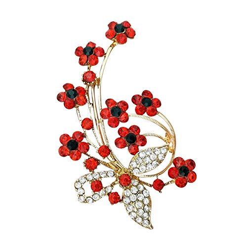 YOQUCOL Red Garnet Ruby Colour Cubic Zirconia Crystal Poppy Flower Shape Brooch Pins for Woman Girls Gift