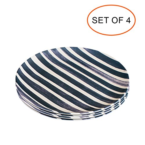 Bamboo Plates - BPA Free Eco Friendly Reusable Wooden Plates Set of Four - Navy Salad Plate
