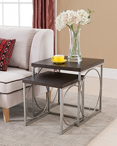 Kings Brand Furniture 2 Piece Wood Nesting Tables Set, Chrome/Walnut