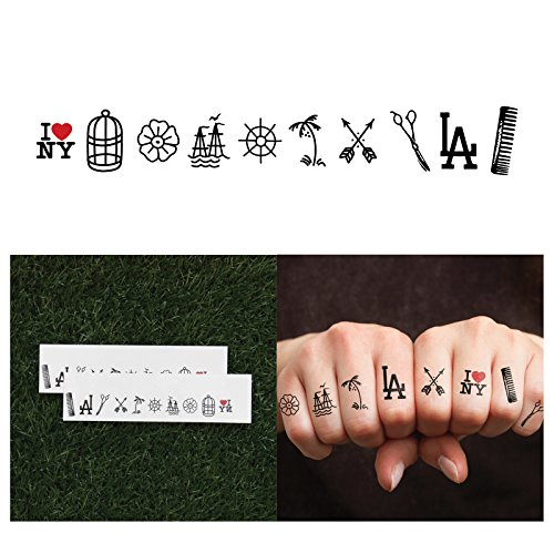 Tattify Tiny LA NY Temporary Finger Tattoos  Coast to Coast Complete Set of 10 Tattoos  2 of each Style  Individual Styles Available and Fashionable Temporary Tattoos