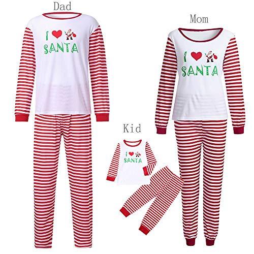 Seaintheson Matching Christmas Pajamas for Family, Santa Letter Printed Long Sleeve Tops+Striped Pant Sleepwear Set ()