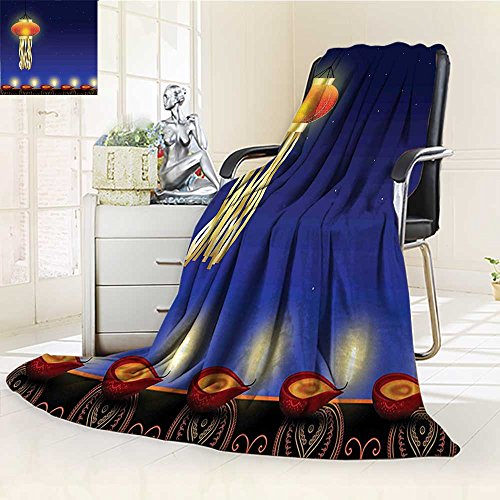 YOYI-HOME Duplex Printed Blanket Custom Design Cozy Fleece Blanket Diwali Religious Celebration Festive Night with Stars and Burning Candles Print Blue and Red Perfect for Couch Sofa/W59 x H47 ()