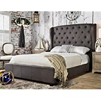 Furniture of America Callista Flax Fabric Bed with Wingback Tufted Headboard Design, California King, Gray