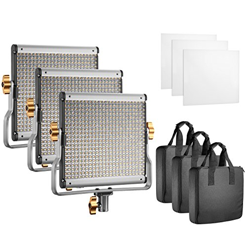 (Neewer Professional Photography 3-Pack 480 LED Video Light - Dimmable Bi-Color LED Panel with U Bracket (3200-5600K, CRI 96+) for Photo Studio Portrait, Product, YouTube Video Shooting)