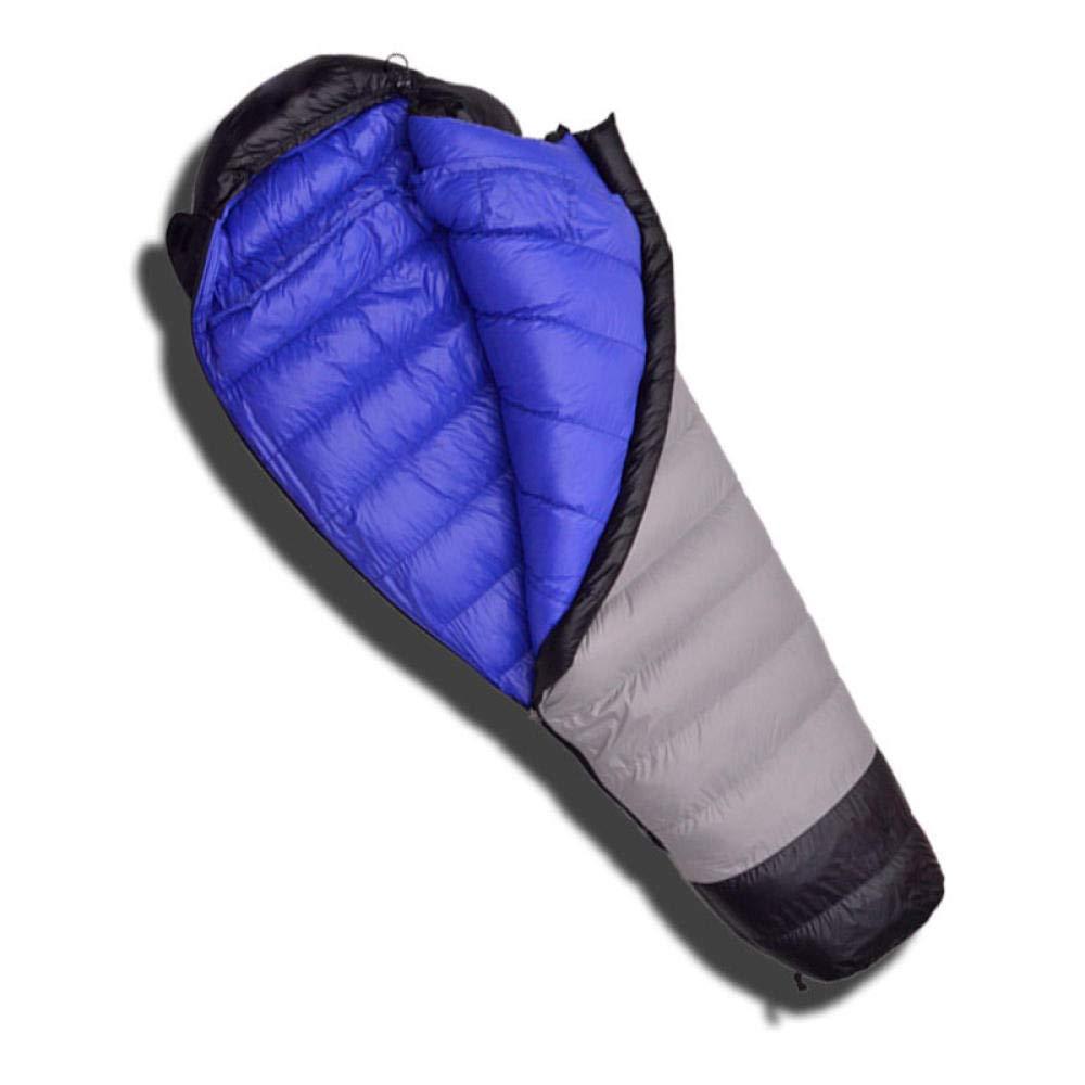 Extérieur gris intérieur bleu 800G FFJJQAN Sacs de Couchage rectangulaires Sacs de Couchage sarcophage Camping extérieur Professionnel  ifié vers Le Bas, extérieur gris Bleu, 600G Sacs de Couchage de Camping et randonnée