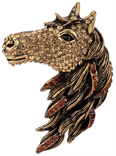 YACQ Angel Jewelry Women's Crystal Big Horse Brooch Pin Pendants -