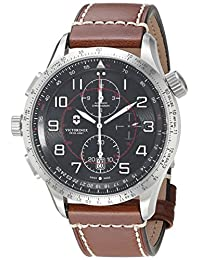 Victorinox Men's 'AirBoss' Swiss Automatic Stainless Steel and Leather Casual Watch, Color Brown (Model: 241710)
