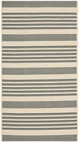 (Safavieh Courtyard Collection CY6062-236 Grey and Bone Indoor/ Outdoor Area Rug (2'7
