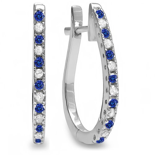 (Dazzlingrock Collection 14K Round Blue Sapphire & White Diamond Ladies Hoop Earrings, White Gold)