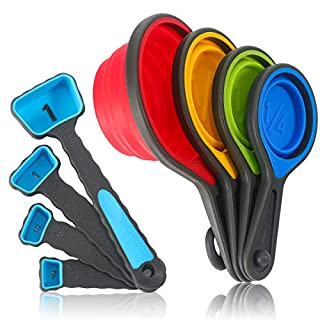 PIVOTHOUSING Measuring Cups and Spoons set, Collapsible Measuring Cups, 8 piece Food Grade Silicone Measuring Tool Engraved US/Metric Markings for Liquid & Dry Measuring, Space Saving,Blue