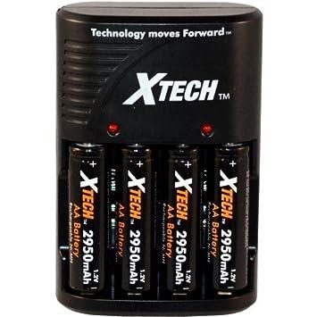 Amazon.com: xtech 4 pilas AA, 2950 mAh baterías recargables ...