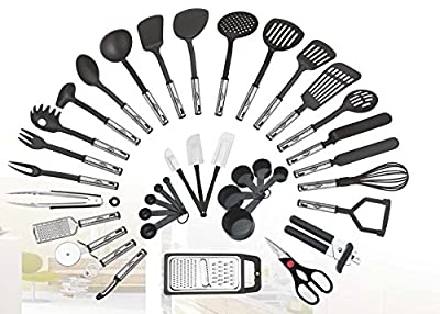 38-piece Kitchen Utensils Set Home Cooking Tools Gadgets Turners Tongs Spatulas Pizza Cutter Whisk Bottle Opener, Graters Peeler, Can Opener, Measuring Cups Spoons by Preferred Housewares International