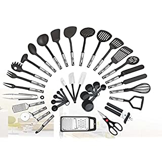 38-piece Kitchen Utensils Set Home Cooking Tools Gadgets Turners Tongs Spatulas Pizza Cutter Whisk Bottle Opener, Graters Peeler, Can Opener, Measuring Cups Spoons (Black)