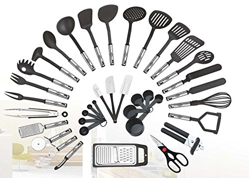 Cooking Tools Gadgets (38-piece Kitchen Utensils Set Home Cooking Tools Gadgets Turners Tongs Spatulas Pizza Cutter Whisk Bottle Opener, Graters Peeler, Can Opener, Measuring Cups Spoons (Black))