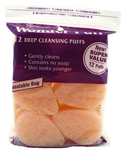 Facial Sponge Exfoliating (Wonder Puff 12 Deep Cleansing Puffs (3 Pack))
