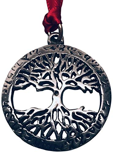 Pewter Tree of Life Circle with Runes Christmas Ornament (Christmas Pagan Ornaments Tree)