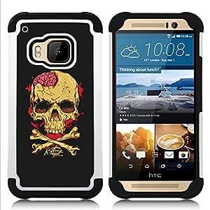 BullDog Case - FOR/HTC ONE M9 / - / BLACK BRAIN BLOOD CROSSBONES SKULL /- H??brido Heavy Duty caja del tel??fono protector din??mico - silicona suave