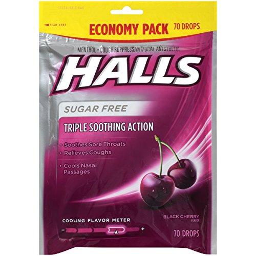 Halls Black Cherry Sugar Free Cough Drops - with Menthol - 840 Drops (12 bags of 70 drops) (Hard Black Cherry)