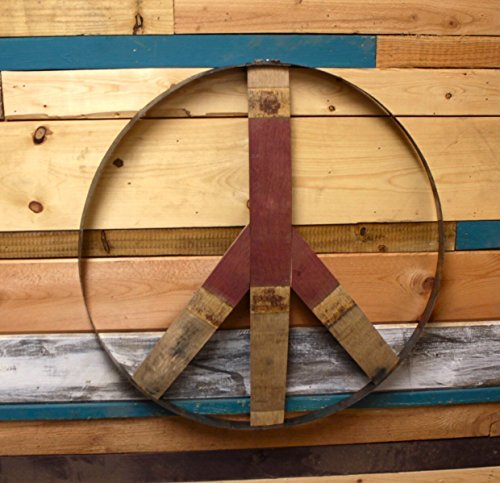 Pediment Top - Natural Wine Barrel Peace Sign