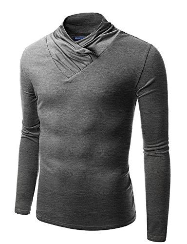 Doublju Mens Turtle Neck with Shirring Detail GRAY (US-XL)