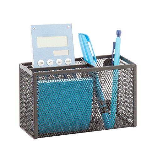 Honey-Can-Do BTS-06555 eXcessory 3-Slot Mesh Organizer,  Black, 7.09L x 2.56W x 3.74H