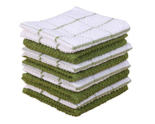 - Terry Kitchen Dishcloth Set of 8 (1 2 x 12 Inches), Green, 100% Cotton, Highly Absorbent, Machine Washable By CASA DECORS