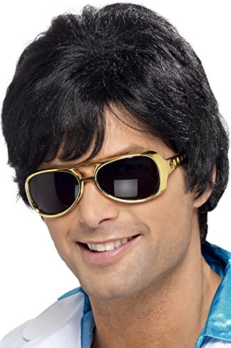 Smiffy's Men's Short Black Wig with Side Bangs, One Size, 70's Shag Wig, 5020570420201 (Costume Wig 70's)