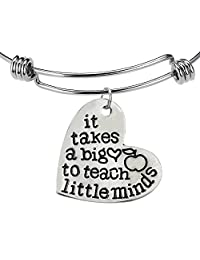 """It takes a big heart to teach little minds"" Bangle Bracelet - Motivational Jewelry Gift"