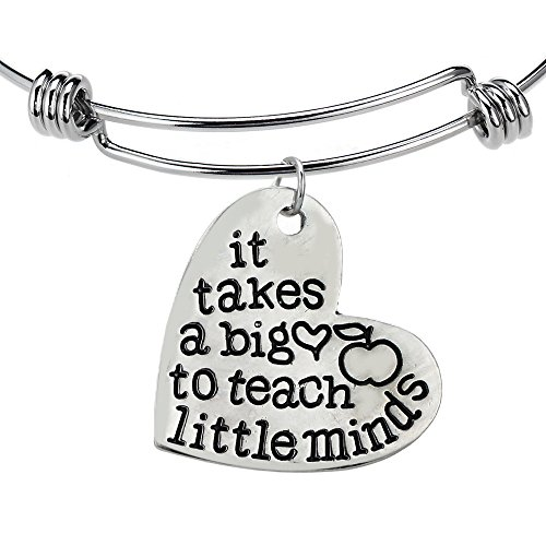 """""""It takes a big heart to teach little minds"""" Bangle Bracelet - Motivational Jewelry - Sales Gifts"""