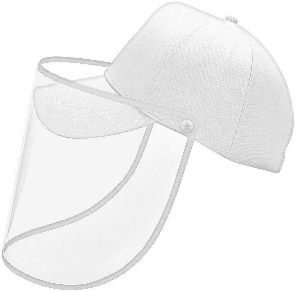 blanc Fonetic Solutions Protection int/égrale T/ête de Baseball Casquette Visi/ère Masque Viseur Bouclier Visage Anti Crachage Transparent Couverture Pour Hommes Femmes