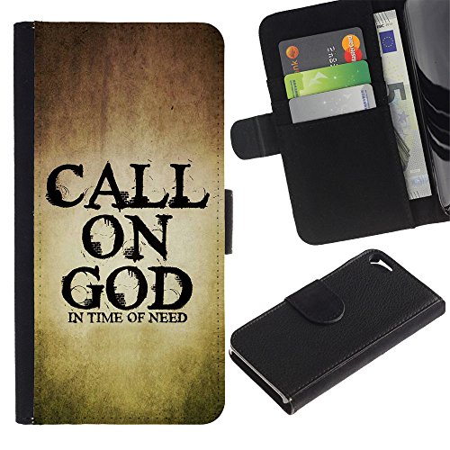 EuroCase - Apple Iphone 5 / 5S - CALL ON GOD - Cuir PU Coverture Shell Armure Coque Coq Cas Etui Housse Case Cover