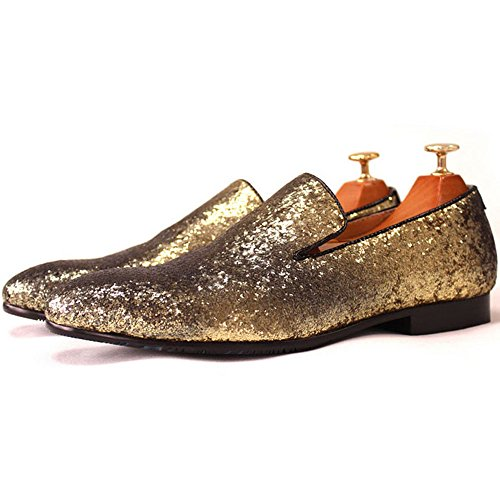 Men Gold Shoes (Men Genuine Leather Mens Metallic Textured Slip-on Glitter Loafers Shoes (10.5 D(M) US, Gold))