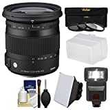 Sigma 17-70mm f/2.8-4 Contemporary DC Macro OS HSM Zoom Lens for Nikon DSLR Cameras with Flash + Soft Box & Diffuser + 3 UV/CPL/ND8 Filters + Kit