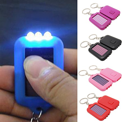 (Mini Solar LED Torch Keychain Flashlight, Solar Powered Emergency 3 LED Torch Keychain Lamp for Camping, Hiking, Hunting, Backpacking, Fishing(Blue))