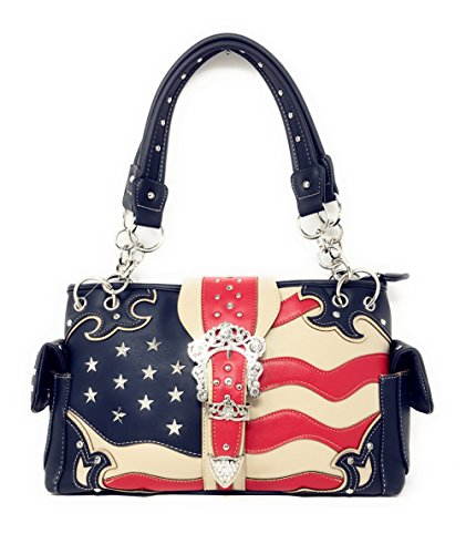 Buckle Large Hobo (Western Concealed Carry Rhinestone American Flag Women's Handbag purse. (Buckle Blue))