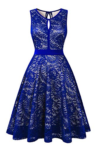 (BBX Lephsnt Women's Vintage Floral Lace Sleeveless Party Dress Cocktail Formal Swing)