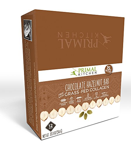 Primal Kitchen Chocolate Hazelnut Collagen Protein Bars, 1.7 Ounce, Pack of 12, Gluten Free, Paleo