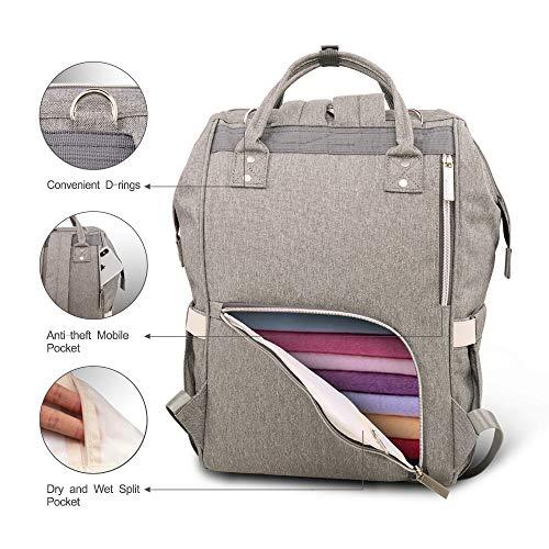 2465365a9e HEYI Diaper Bag Backpack Travel Large Spacious Tote Shoulder Bag Organizer (Linen  gray)
