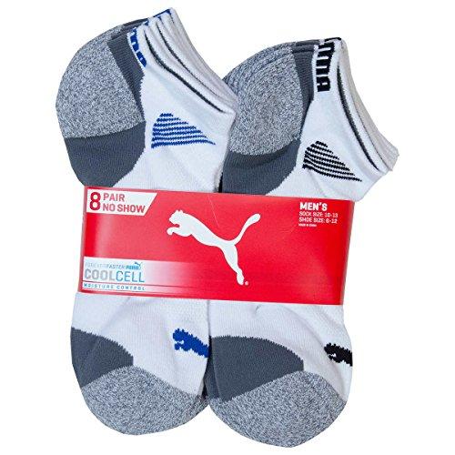 PUMA Mens No Show Socks, White (8-Pack) by PUMA