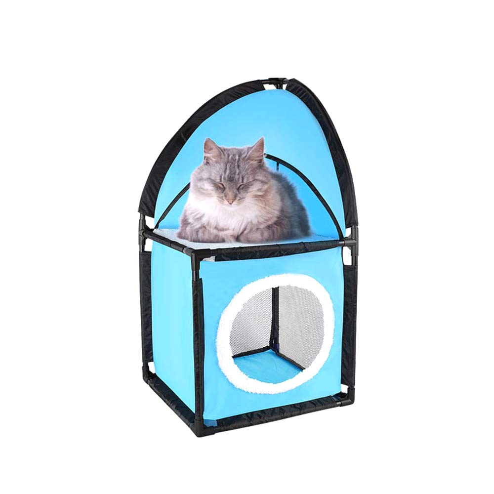 2Story Cat Condo Self Assembly Easy to Carry Durable DoubleSided Ventilation Comfortable and Cool Innovative Design bluee