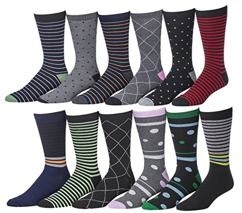 Men's Pattern, Stripe Dress Socks, 12 Pairs, Size 10-13