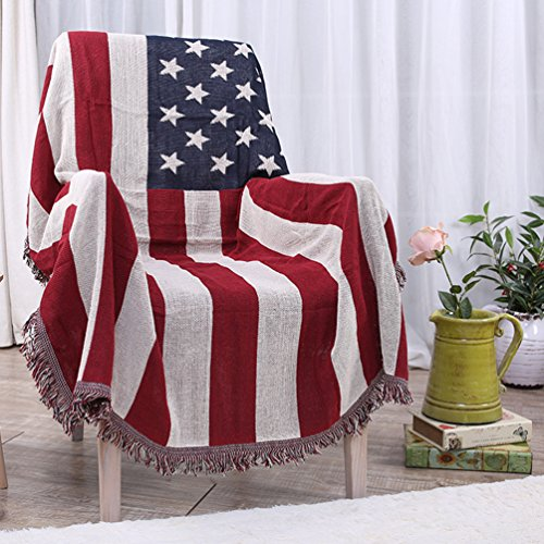Branded American Flag (American Flag Throw Blanket Tassels Tapestry Woven Cotton Couch Bed Sofa Chair Cover, Stars and Stripes Blanket for Home Living Room Bedroom Table Decor Thick)