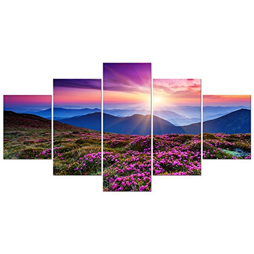 Wieco Art 5 Piece Giclee Canvas Prints Wall Art Large Modern Gallery Wrapped Mountains in Sunrise Artwork Purple Landscape Pictures Paintings Ready to Hang for Bedroom Dining Room Home Decorations L (Best Art Galleries In Europe)