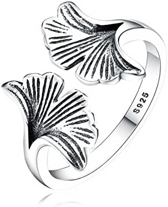 BISAER Fashion Adjustable Sterling Silver Antique Rare Ginkgo Biloba Leaf Stackable Rings for Women