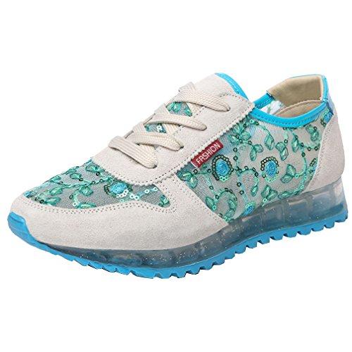 VECJUNIA Dance Running Beige Increase Trainers Mesh Ladies Casual Green Height Lightweight Breathable Light Sneakers anqUrawT