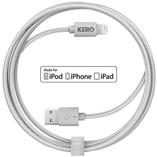 KERO OMNI Cable - 2 Meter (6 ft) Premium [Apple MFi Certified] braided cable charge/sync cable + included cable tie