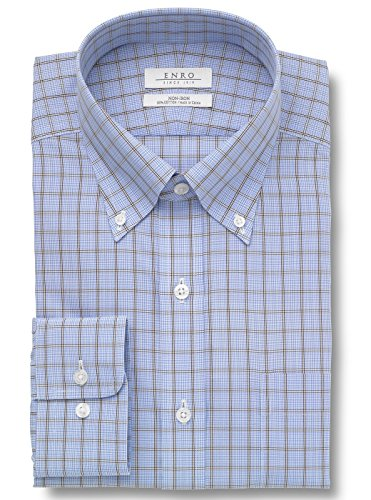 Enro Men's Knox Hill Non Iron Button Down Dress Shirt - Blue - 16.5 x 32/33 ()