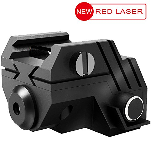 USA LASPUR Mini Sub Compact Tactical Rail Mount Low Profile Red Dot Laser Sight with Build-in Rechargeable Battery for Pistol Rifle Handgun Gun, Black