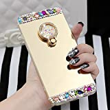 iPhone 6 Mirror Case, iPhone 6s Case, Luxury Diamond Soft Rubber Crystal Bling Rhinestone Glitter Mirror Case for Girls with Ring Stand Holder (Gold 2)